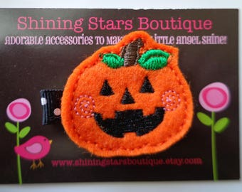 Felt Hair Clips - Orange And Black Embroidered Felt Happy Jack-O-Lantern Pumpkin Hair Clippie For Girls - Halloween Holiday Accessory