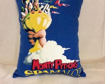 Monty Python Spamalot Pillow, Blue Pillow, Accent Pillow, Decorative Pillow, Bed Pillow, Sofa Pillow, Couch Pillow, Gift Idea, Pillow