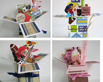 Handmade Birthday for men or anyone -pop up exploding box card- 4 variations -- Free ship USA