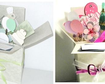 Handmade Wedding or Bridal Shower Pop up Exploding Box Card -- Just 2 left--Free ship US