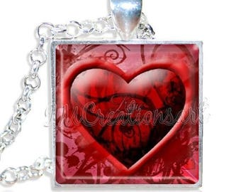 "20% OFF - Red Heart Stylish 1"" Square Glass Pendant or with Necklace - SQ173"