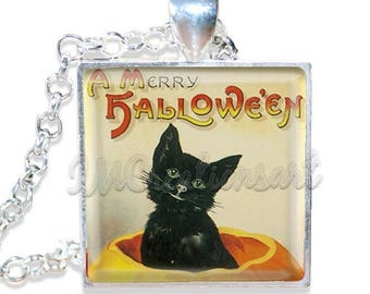 "20% OFF - Merry Halloween Vintage Black Cat 1"" Square Glass Pendant or with Necklace - SQ106"