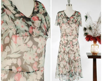 Vintage 1930s Dress - Floating Summer Dark Floral Print Sheer Silk Chiffon Bias Cut 30s Gown with Sheer Caped Collar Tulip Print