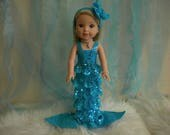 American Girl Wellie Wisher 4-pc. Turquoise Mermaid Outfit.