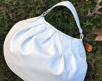 Round Leather Purse, White Patent Leather Hobo, White Leather Purse, Leather Hobo Bag, Patent Leather Hobo. Leather Hobo Bag, Round Bag
