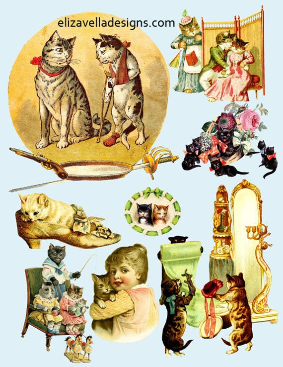 kitty cats kittens die cuts digital download COLLAGe sheet printable image graphics CLIPART vintage art crafts scrapbooking papers