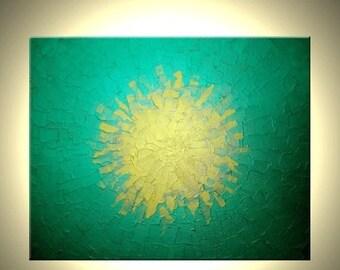 Green Metallic Painting, Original Gold Textured Media Painting by Dan Lafferty - 24 X 30