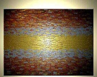 Abstract Painting, Palette Knife Art, Large Textured Artwork, Gold Metallic, Modern Impasto, Lafferty - 48x36 - Sale 22% Off