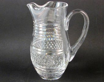 Vintage Waterford Martini Pitcher Cross Hatch Pattern Pinched Lip Pitcher Holds 32 Oz Great for Elegant Entertaining