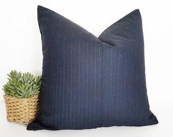 Dark Blue Pillow Cover, Blue Decorative Pillow, Solid Blue Pillows, Navy Cushion, Pinstripes, Wool Suiting, Zipper, Menswear Style, 20x20