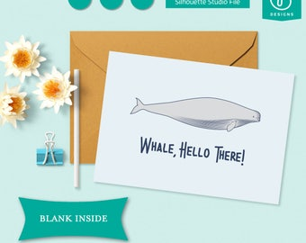 Printable Whale Hello There Card