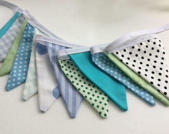 Blue and green Bunting /Fabric Garland / Banner - 12 small flags, birthdays, mantel deco, shelf deco, mothers day