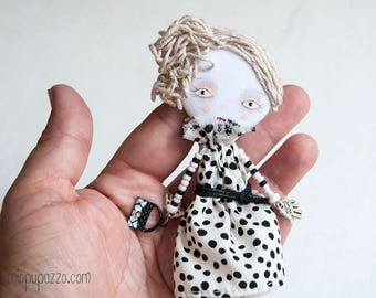 Fashion White and Black Girl, Art doll brooch, Personalized gift for her