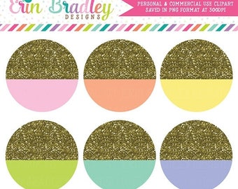 80% OFF SALE Gold Glitter Circles Clipart Commercial Use Graphics