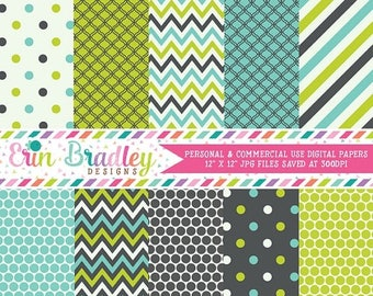 80% OFF SALE Lime Blue and Charcoal Digital Paper Set Commercial Use Instant Download