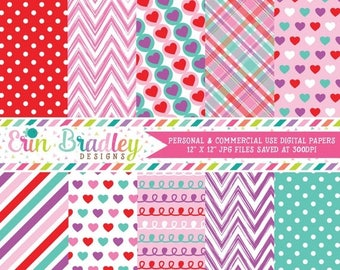 80% OFF SALE Purple Love Valentines Day Digital Paper Pack Hearts Chevron Striped Plaid Polka Dot and Doodle Patterns in Red Pink Blue & Pur
