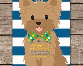 Puppy Party - Custom DIGITAL Birthday Party Invitation, any age BOY