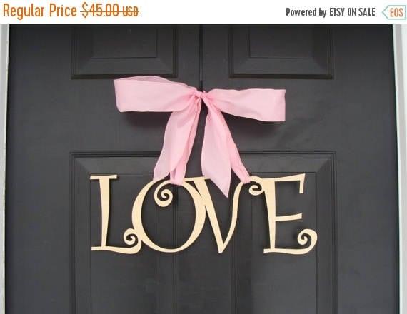 SUMMER WREATH SALE Love Wooden Letters, Valentine's Day Decor, Valentine's Day Wreath, Wedding Sign, Wood Sign, Door Decoration, Wedding Dec
