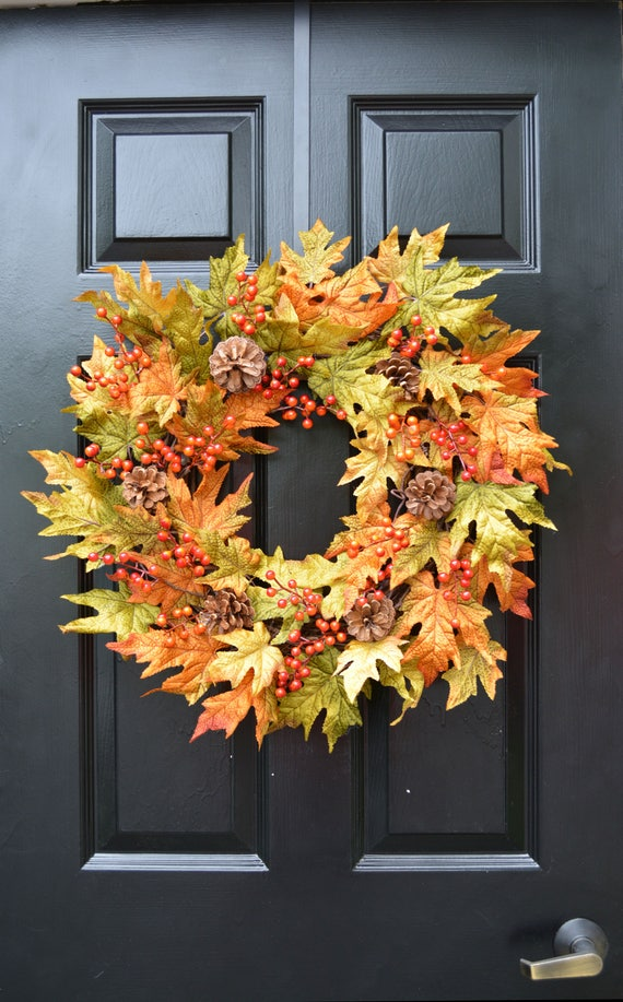 Berry Fall Leaves Wreath, Fall Wreath, Fall Decor Autumn Wreath with Pinecones, Outdoor Fall Decor, Fall Colors