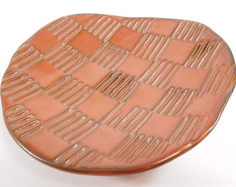 Decorative Plate - Clearance 50% Off - Dessert Plate - Fruit Plate - Ceramic Plate - Candy Dish - Basketweave - Red Brown Dish - In Stock