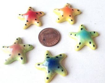 Miniature Ceramic Starfish, green, red, mini, small, tiny, little, miniature, ceramic animal, tiny animal, decoration, mini animal