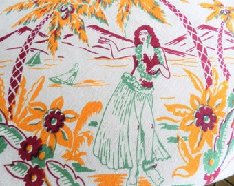 1940s Hawaiian Tablecloth, Hawaii Souvenir Tablecloth, Orange Tablecloth, 1940s Tablecloth, Kitsch Tablecloth, Collectable Tablecloth
