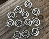Spiral Charm, set of 12 (Koru, empowerment, transformation, change, initiation, sacred path, goddess spirituality, priestess)