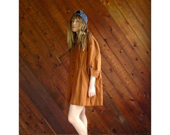 20% off SUMMER SALE. . . Oversized Clay Brown Artists Tunic Mini Dress - Vintage 90s - OS