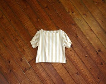 20% off SUMMER SALE. . . Taupe Boxy Vertical Stripe Summer Top - Vintage 80s - XS/S