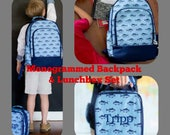 Boys Nautical Backpack and Lunchbox set. Monogrammed FISH backpack and lunchbox. BOYS backpack set. Back to School Bag.
