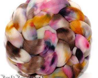 MR. VAIN - French Rambouillet Hand Dyed Hand Painted Combed Top Wool Roving Spinning Felting fiber - 4.2 oz