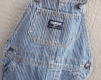 Childrens Retro Denim Blue Stripe OshKosh Overalls Size 24 mos.