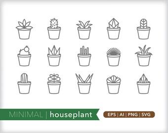 Minimal houseplant line icons | EPS AI PNG | Geometric Plant Clipart Design Elements Digital Download