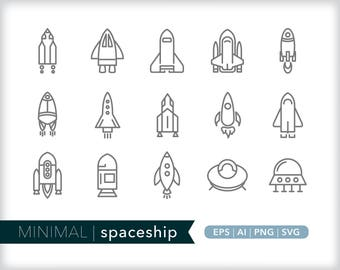 Minimal spaceship line icons | EPS AI PNG | Geometric Science Clipart Design Elements Digital Download