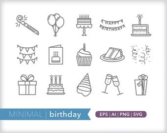 Minimal birthday line icons | EPS AI PNG | Geometric Party Clipart Design Elements Digital Download