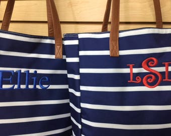 2 TWO NAVY Monogrammed Striped Tote Bags Personalized Shoulder Beach Bags Overnight Wedding Bridesmaids Outer Banks BeachHouseDreamsHomeOBX