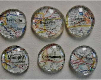large glass magnets featuring your choice of city