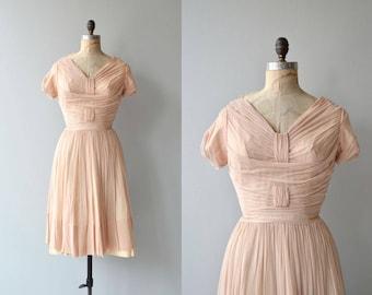Doucement silk dress | vintage 1950s dress | silk chiffon 50s dress