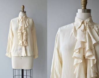 Blank Verse silk blouse | vintage silk ruffled blouse | cream silk blouse