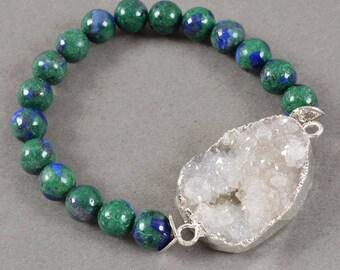 Quartz Druzy Focal Bead in Silver with Lapis Lazuli - Malachite Bead Bracelet