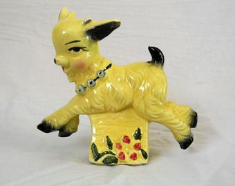 Vintage Billy Goat planter 1960s ceramic yellow and black