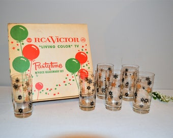 Vintage Glasses Tall Drinking with Black and Gold Snowflakes
