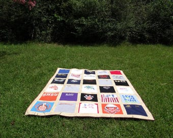 Oversized Queen Size  King Tshirt Memory Quilt made with School 30 Tee Shirts