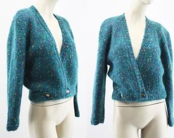 Vintage Anna Laurence Mohair Blend Teal Blue Deep V Wrap Long Sleeve Woman's Retro Crop Sweater