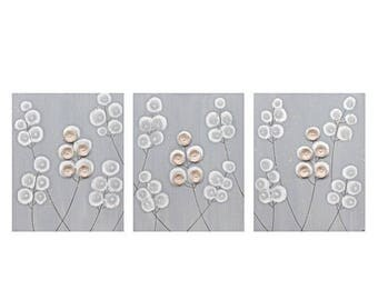 ON SALE Mixed Media Acrylic Painting Canvas Art Flowers - Gray and Brown Triptych - Large 50x20