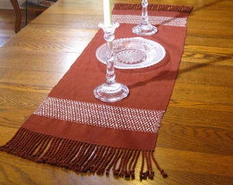 "46"" Handwoven Table Runner Hand Woven 46"" Table Runner Brown Buffet Scarf Handwoven Coffee Table Runner Natural and Brown Table Runner"