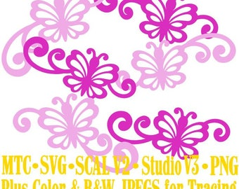Butterfly 1 Flourish Set #06 Spring Cut Files MTC SVG SCAL and more Digital File Formats