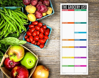 The Grocery List Notepad NO LINES (large magnetic refrigerator note pad for groceries, shopping list, organized into blank sections)