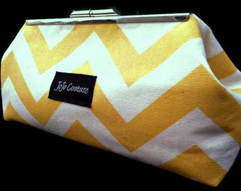 The Olive Clutch by JoJo Couture, in Yellow Chevron