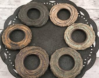 Handmade Chocolate Stoneware Ceramic Clay Rustic Spiral Texture Mesium Sized Donut Bead - Made To Order - Craft Supply - Handmade Bead